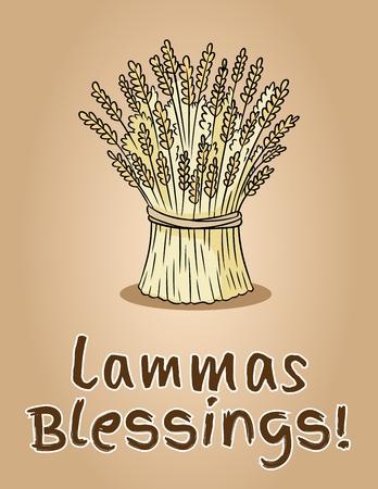 Illustration pour Happy Lammas Blessings. Sheaf of wheat. Hay bundle - image libre de droit
