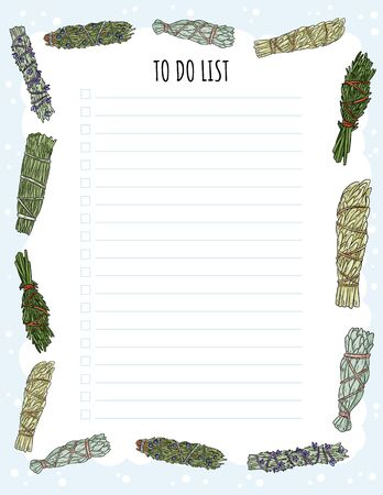 Photo pour Cozy boho weekly planner and to do list with smudge sticks ornament. Cute template for agenda, planners, check lists, and other stationery - image libre de droit