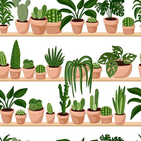 Illustration pour Hygge potted succulents plants in a row seamless pattern. Cozy lagom scandinavian style texture tile - image libre de droit