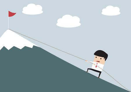 Businessman Climbing Hill, VECTOR, EPS10