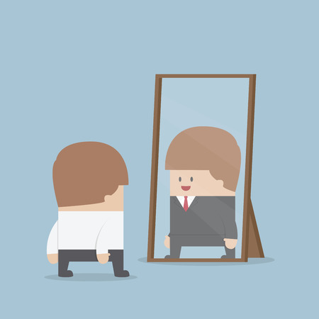 Businessman see his successful future in the mirror, VECTOR, EPS10