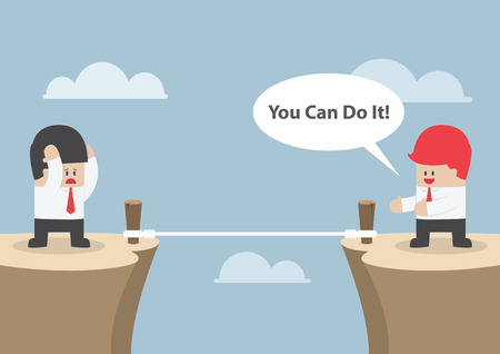 Businessman motivate his friend to cross the cliff by saying \You Can Do It\