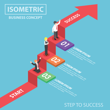 Illustration pour Business people on business graph ladder, Step to success, Flat 3d web isometric infographics design - image libre de droit