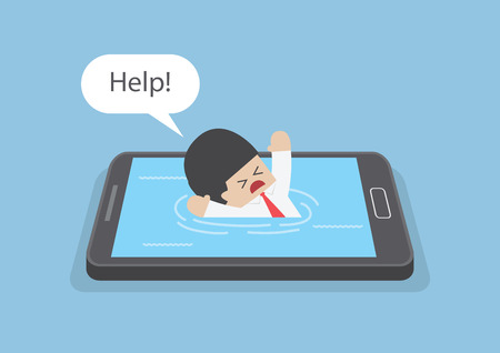 Businessman drowned or sank in the smartphone, Smart phone addiction concept