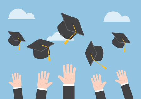 Illustration pour Businessman hands throwing graduation hat in the air - image libre de droit