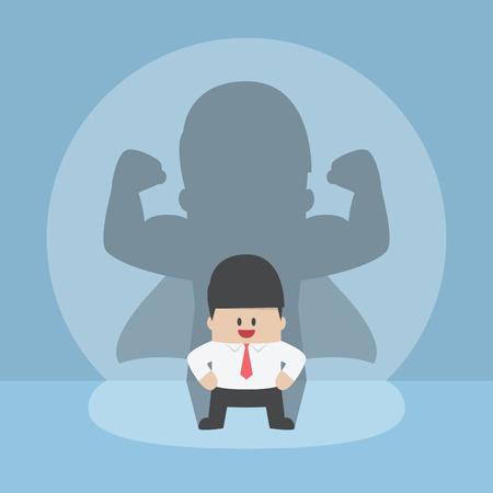 Illustration pour Businessman with his strong shadow, successful, leadership, confident concept - image libre de droit
