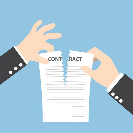 Illustration pour Businessman hands tearing apart contract document - image libre de droit