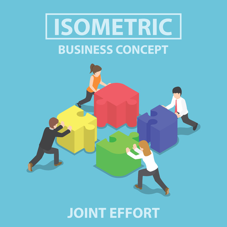 Illustration for Isometric business people pushing and assembling four jigsaw puzzles, teamwork, collaboration, joint effort concept - Royalty Free Image