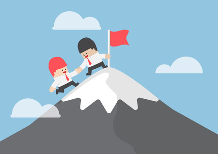Illustration for Businessman help his friend to reaching the top of mountain, teamwork concept - Royalty Free Image
