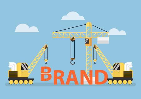 Illustration pour Construction site crane building big brand word, brand building concept - image libre de droit
