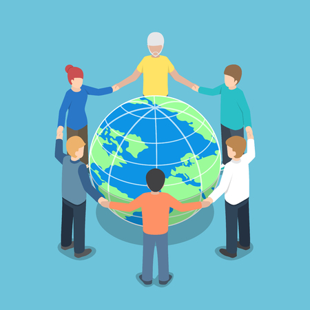 Illustration pour Isometric people around the world holding hands, teamwork, global business, unity concept - image libre de droit
