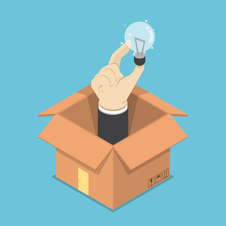 Illustration pour Isometric businessman hand holding light bulb of idea sticking out from the cardboard box, think outside the box concept - image libre de droit