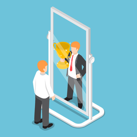 Illustration pour Flat 3d isometric businessman see himself being successful in the mirror, successful career concept - image libre de droit