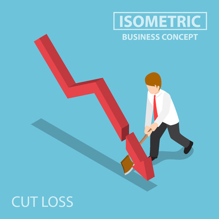 Illustration for Flat 3d Isometric Business Cut Falling Graph by Axe, Stock Market Investment and Cut Loss Concept - Royalty Free Image