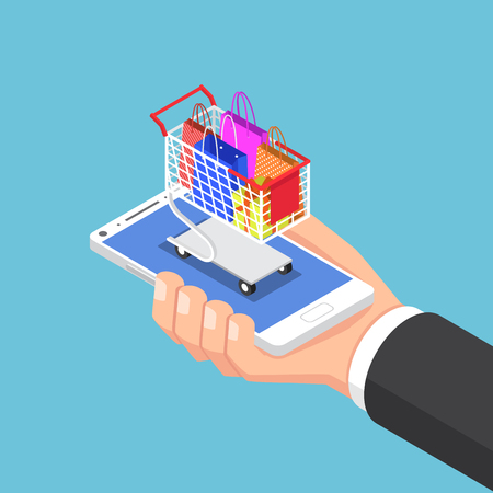 Ilustración de Flat 3d isometric businessman hand with shopping bag and cart on smartphone. Online shopping concept. - Imagen libre de derechos