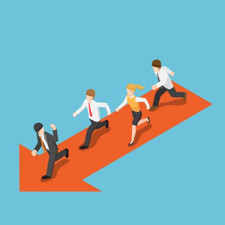 Vektor für Flat 3d isometric businessmen running and following leader. - Lizenzfreies Bild