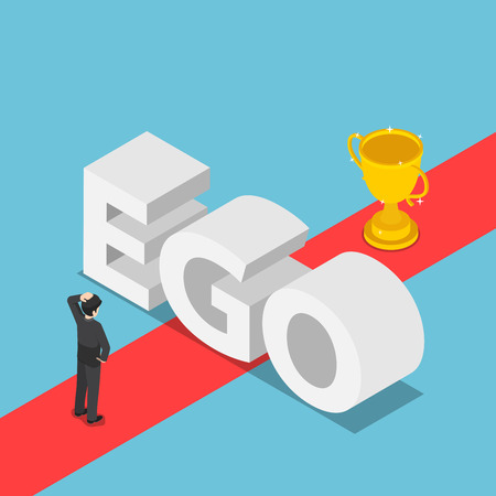 Illustration pour Flat 3d isometric businessmen was obstructed by the ego wall to find a way to success. Ego concept. - image libre de droit