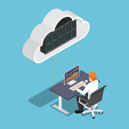 Illustration pour Flat 3d isometric businessman working on desktop pc and uploading to cloud storage. Cloud computing technology concept. - image libre de droit