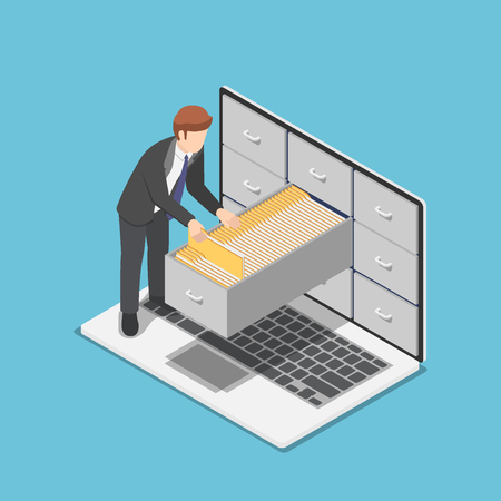 Illustration pour Flat 3d isometric businessman manage document folders in cabinet inside the laptop screen. File and data management concept. - image libre de droit
