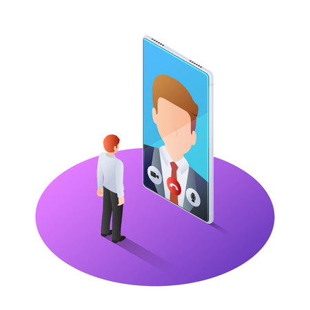 Illustration pour 3d isometric businessman having video call with boss on smartphone. Online business consulting and video call technology concept. - image libre de droit