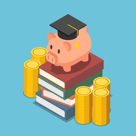 Illustration pour Flat 3d isometric piggy bank with graduation cap on the stack of book. Investment in education concept. - image libre de droit