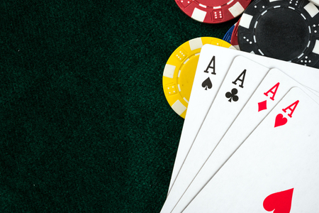 Gambling Poker Cards and Money Chips