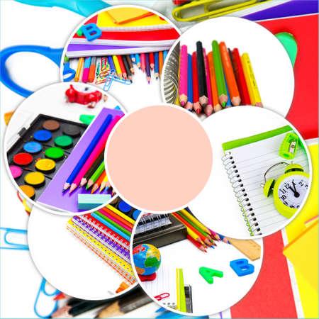 Photo pour School Education Equipment Tools Collage - image libre de droit