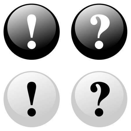 Exclamation and question black and white buttons