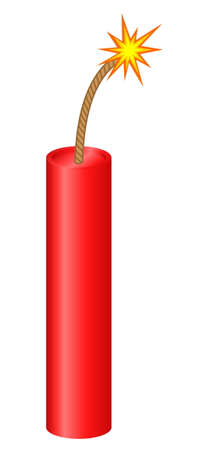 Dynamite stick with lighted fuse