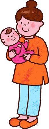 Illustration for Mom holding a baby with main line - Royalty Free Image