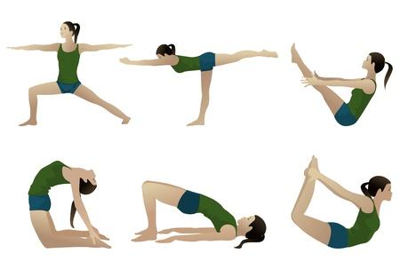 Yoga series 3, six yoga poses on white