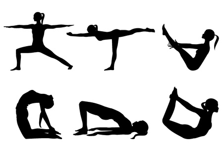 Yoga series silhouettes 3, six poses isolated on white