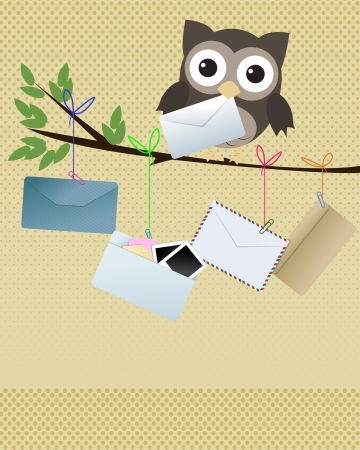 Owl  you got mail  Little brown owl on branch with various kind of envelopes hanging of the branch