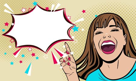 Illustration pour Beautiful young laughing girl shows a finger at an important announcement. Woman painted in pop art style. Vector. - image libre de droit