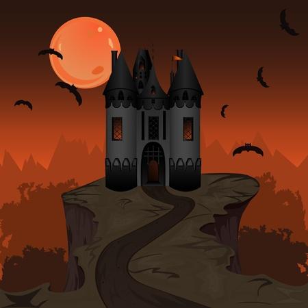 Illustration for Halloween landscape with dark castle - Royalty Free Image