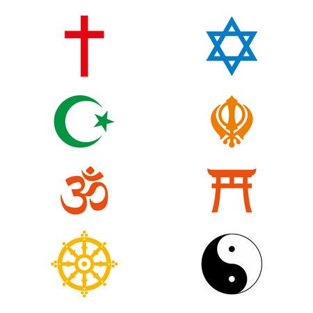 Ilustración de Vector illustration world religious signs and symbols collection in colour icon design - Imagen libre de derechos