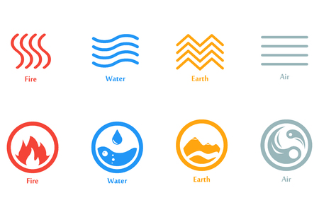 Illustration for A Vector illustration of four elements icons, line and round  set. Logo template. Wind, fire, water, earth symbol. Pictograph. - Royalty Free Image