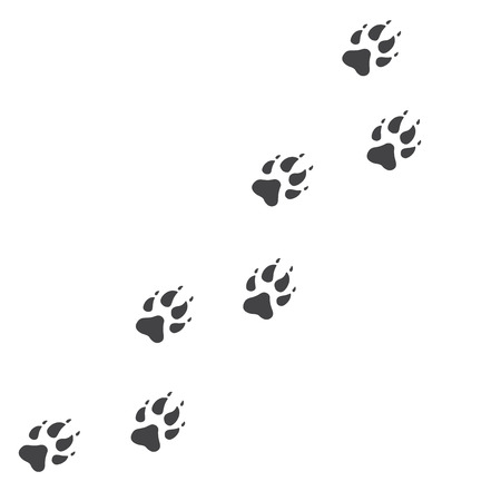 Vector illustration. Wolf Paw Prints Track icon. Black on White background. Animal paw print with claws.