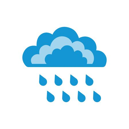 Symbols of clouds and heavy rain. Abstract concept, icon. Vector illustration.
