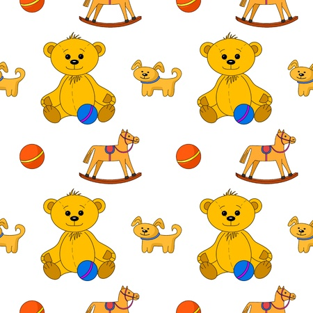 Vector seamless background, toys: teddy bear with ball, dog and horsy