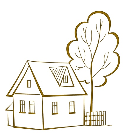 Vector cartoon, landscape: country house with a tree, monochrome symbolical pictogram