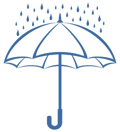 Symbolical pictogram: blue umbrella and rain drops on white backgroundのイラスト素材