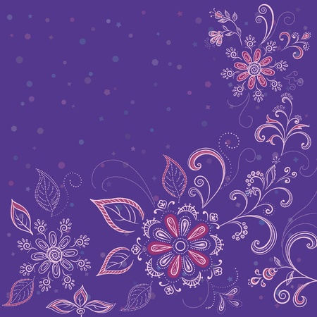 Abstract background with a symbolical flowers and contours. Vector
