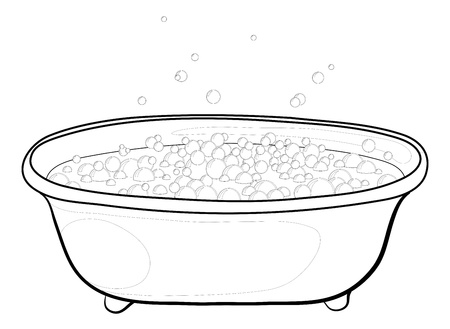 Old bathtub with bubbles of soap suds, contours. Vector