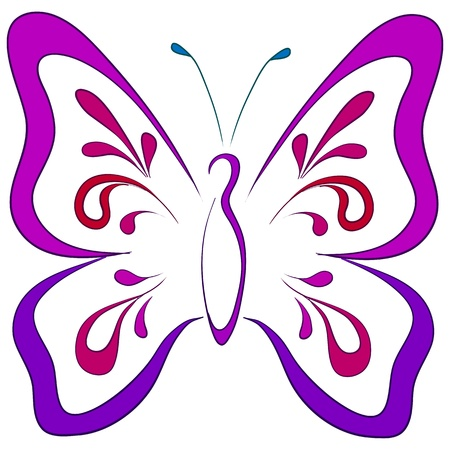Symbolical butterfly with opened wings, monochrome pictogram