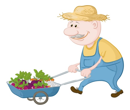 Men gardener driven truck with fresh vegetables  Vector illustrationのイラスト素材