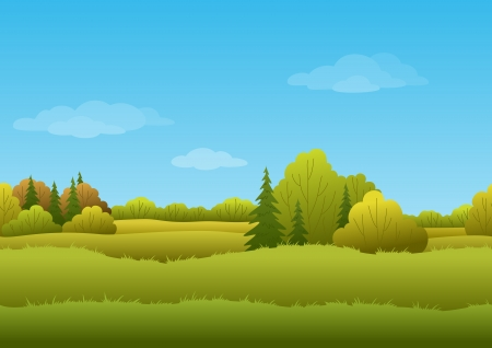Illustration for Seamless background, cartoon autumn landscape  forest and sky   - Royalty Free Image