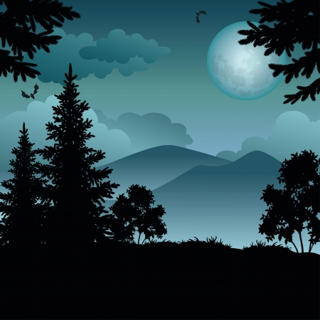 Night landscape: trees, moon, mountains and bats.