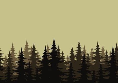 Seamless background, landscape, night forest with fir trees silhouettes. Vector