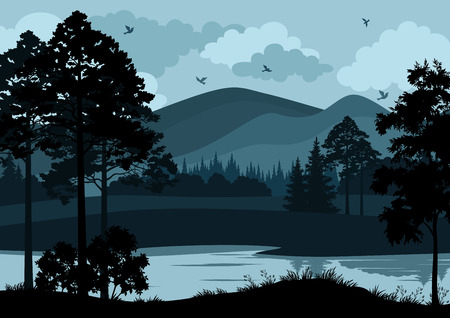 Illustration pour Night Landscape, Mountain Lake, Trees and Cloudy Sky with Birds. Vector - image libre de droit